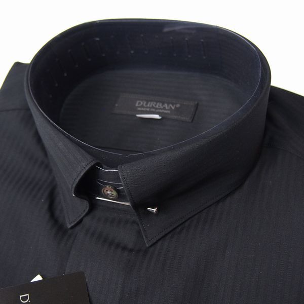 新品 春夏 日本製 定価1.6万 DURBAN ダーバン ピンホールシャドーストライプブラックドレスシャツ 長袖シャツ 39-86 黒 メンズ ビジネス_画像2