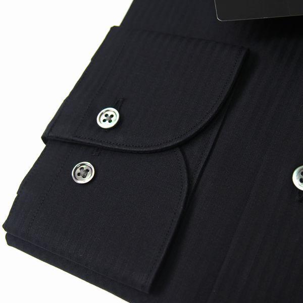 新品 春夏 日本製 定価1.6万 DURBAN ダーバン ピンホールシャドーストライプブラックドレスシャツ 長袖シャツ 39-86 黒 メンズ ビジネス_画像3