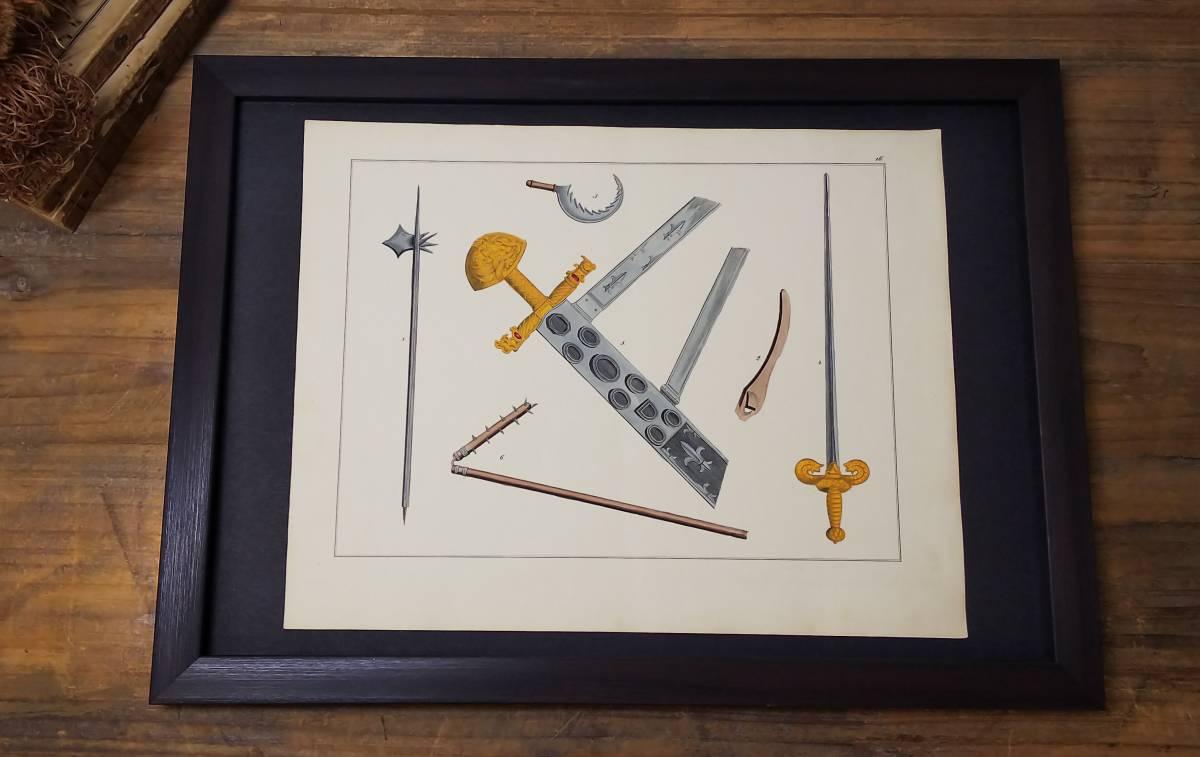 ドイツアンティーク 1842年 ヨーロッパ中世の騎士道と古代装甲の歴史の本から 中世の武器 剣・halberds(斧槍)・フレイル等の手彩色図版 _画像1