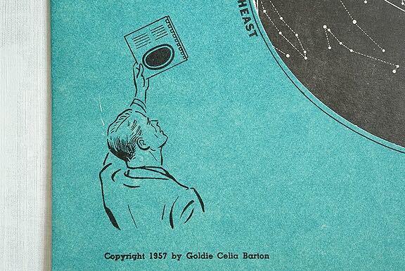 【1957年 古い星座早見盤 天体観測 ビンテージ 紙もの】宇宙 星座 アンティーク ブロカント レトロ 古道具 紙物 オブジェ インテリアに_画像4
