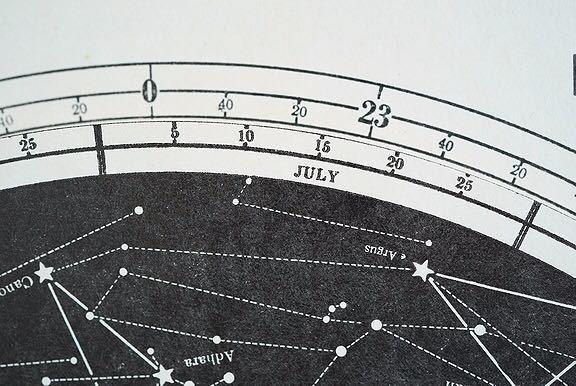 【1957年 古い星座早見盤 天体観測 ビンテージ 紙もの】宇宙 星座 アンティーク ブロカント レトロ 古道具 紙物 オブジェ インテリアに_画像9