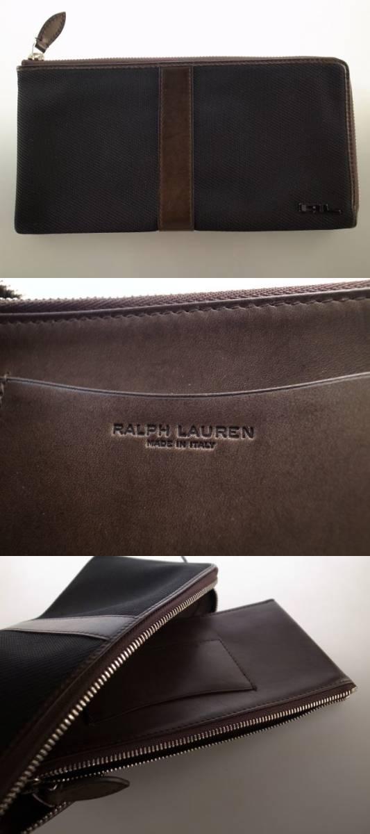 ●展示品のため格安! ラルフローレン 最高級 パープルレーベル purple label 財布 ウォレット ブラック レザー ポーチ オーガナイザー●