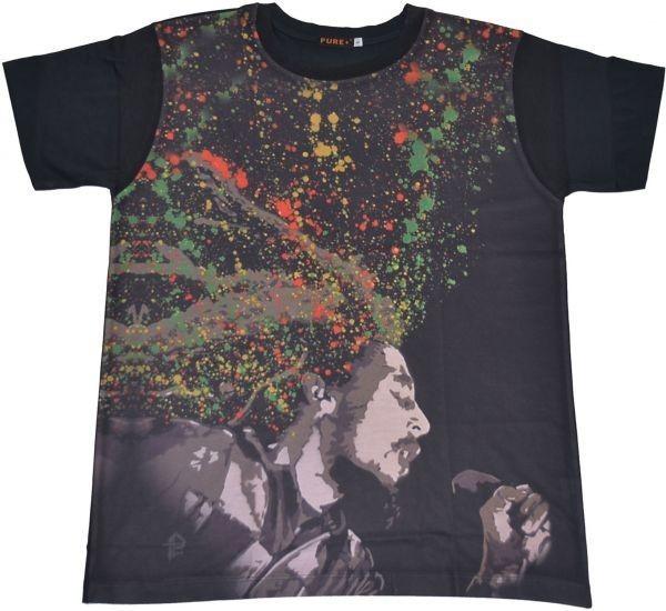 ■メンズ ボブ・マーリー(Bob Marley)レゲエTシャツ Lサイズ 黒/ブラック カラフル プリント 半袖 丸首■T-shirt
