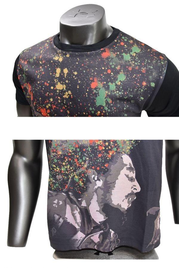 ■メンズ ボブ・マーリー(Bob Marley)レゲエTシャツ Lサイズ 黒/ブラック カラフル プリント 半袖 丸首■T-shirt_画像5