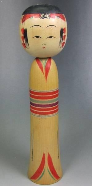 送料無料★古い伝統 こけし【新山民夫 作】弥治郎系★高さ21.3cm★TOHOKU KOKESHI Doll