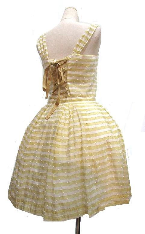 Jane Marple イエローボーダーお花付ドレス ジャンパースカート ジェーンマープル_画像2