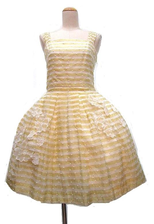 Jane Marple イエローボーダーお花付ドレス ジャンパースカート ジェーンマープル_画像1