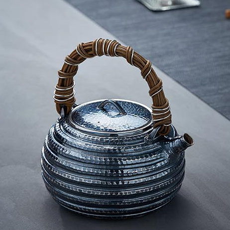 【煎茶道具】純銀口打出し銀瓶急須湯沸かし薬缶やかん100%ハンドメイドシルバー銀製伝統茶文化金属工芸品証付★幅15.5cm重さ645g証付Y86_画像2