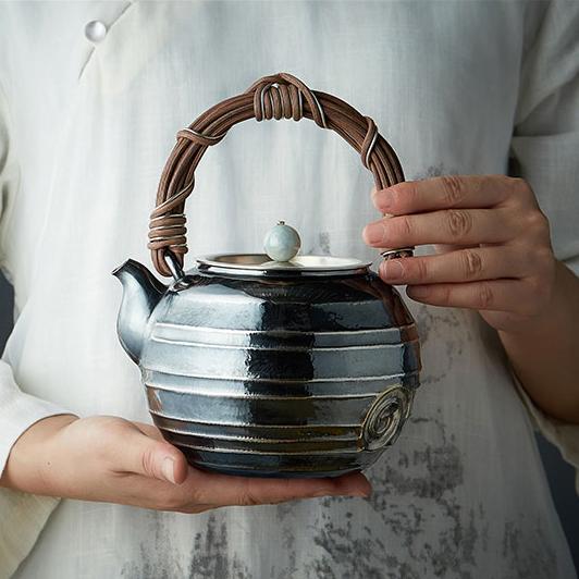 【煎茶道具】純銀口打出し銀瓶急須湯沸かし薬缶やかん100%ハンドメイドシルバー銀製伝統茶文化金属工芸品証付★幅14.0cm重さ675g証付Y87_画像3