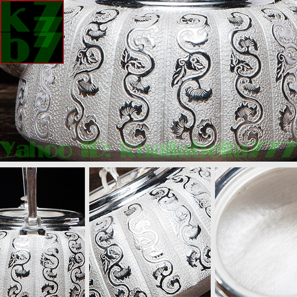【煎茶道具】純銀口打出し銀瓶急須湯沸かし薬缶やかん100%ハンドメイドシルバー銀製伝統茶文化金属工芸品証付★幅16.5cm重さ713g証付Y54_画像5