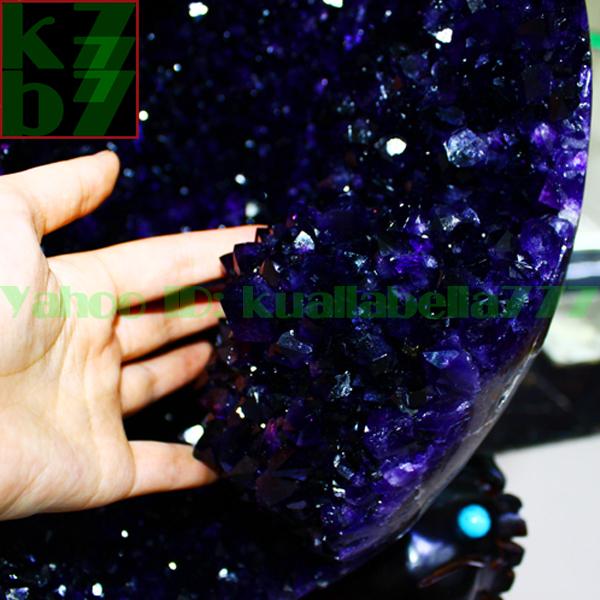 【華奢宝石】天然水晶アメジストエッグ紫晶卵パワーストーンオフィスリビングインテリア金運財運風水置物★高さ65cm重さ34.9kg証付 R65_画像2