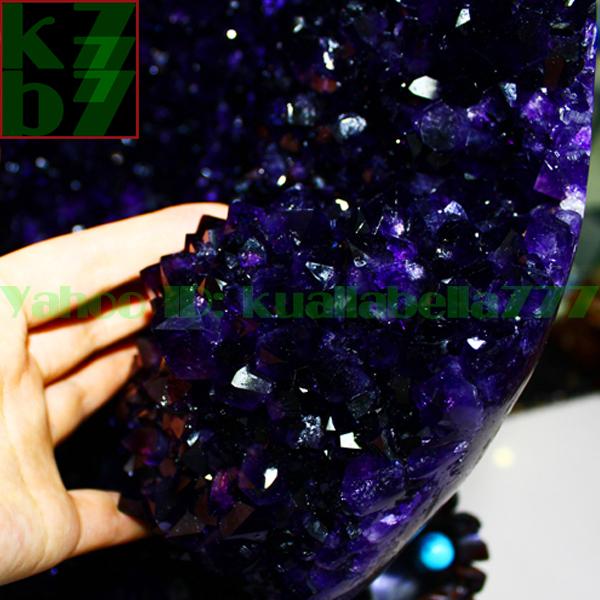 【華奢宝石】天然水晶アメジストエッグ紫晶卵パワーストーンオフィスリビングインテリア金運財運風水置物★高さ65cm重さ34.9kg証付 R65_画像3