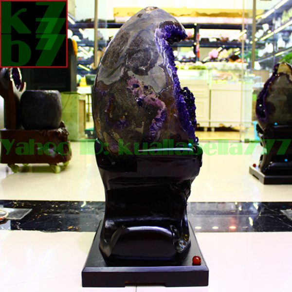 【華奢宝石】天然水晶アメジストエッグ紫晶卵パワーストーンオフィスリビングインテリア金運財運風水置物★高さ65cm重さ34.9kg証付 R65_画像5