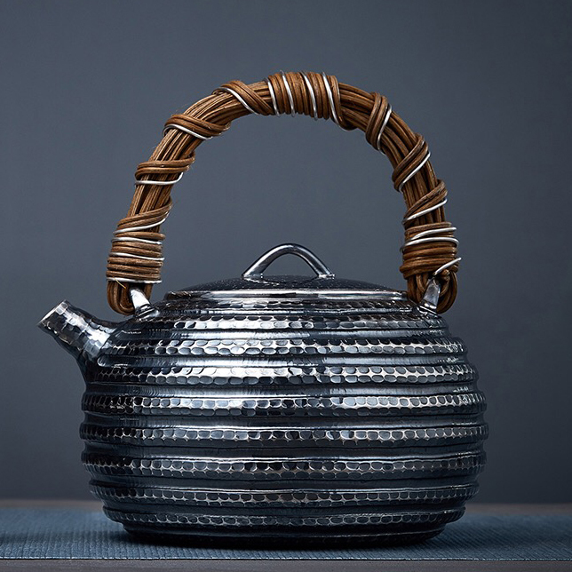 【煎茶道具】純銀口打出し銀瓶急須湯沸かし薬缶やかん100%ハンドメイドシルバー銀製伝統茶文化金属工芸品証付★幅15.5cm重さ645g証付Y86_画像1