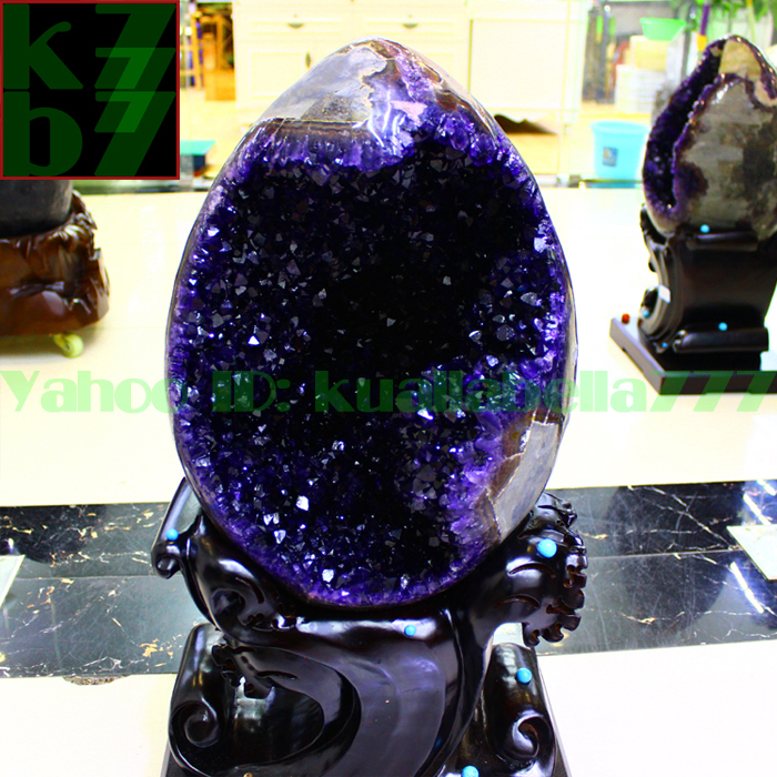 【華奢宝石】天然水晶アメジストエッグ紫晶卵パワーストーンオフィスリビングインテリア金運財運風水置物★高さ65cm重さ34.9kg証付 R65_画像1