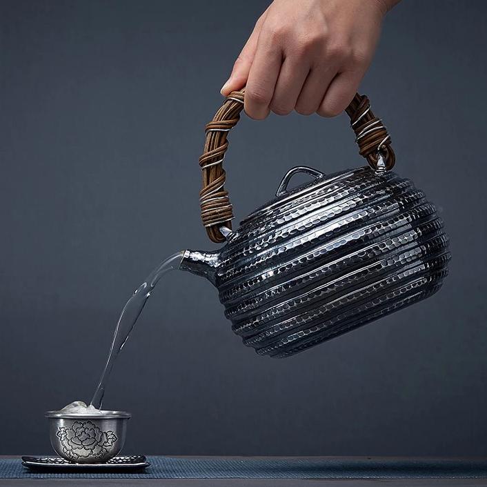 【煎茶道具】純銀口打出し銀瓶急須湯沸かし薬缶やかん100%ハンドメイドシルバー銀製伝統茶文化金属工芸品証付★幅15.5cm重さ645g証付Y86_画像4