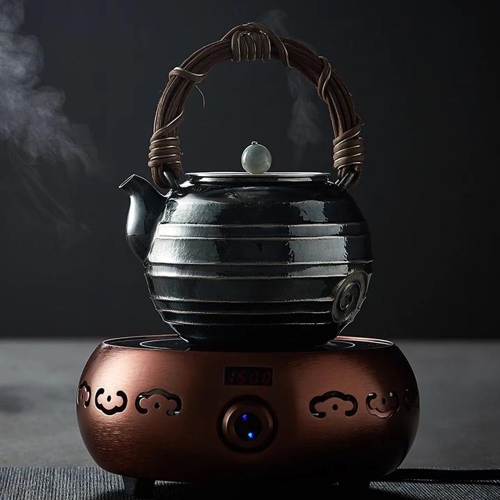 【煎茶道具】純銀口打出し銀瓶急須湯沸かし薬缶やかん100%ハンドメイドシルバー銀製伝統茶文化金属工芸品証付★幅14.0cm重さ675g証付Y87_画像5