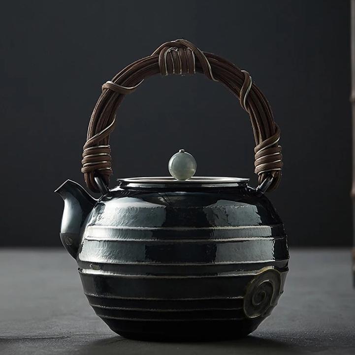 【煎茶道具】純銀口打出し銀瓶急須湯沸かし薬缶やかん100%ハンドメイドシルバー銀製伝統茶文化金属工芸品証付★幅14.0cm重さ675g証付Y87_画像1