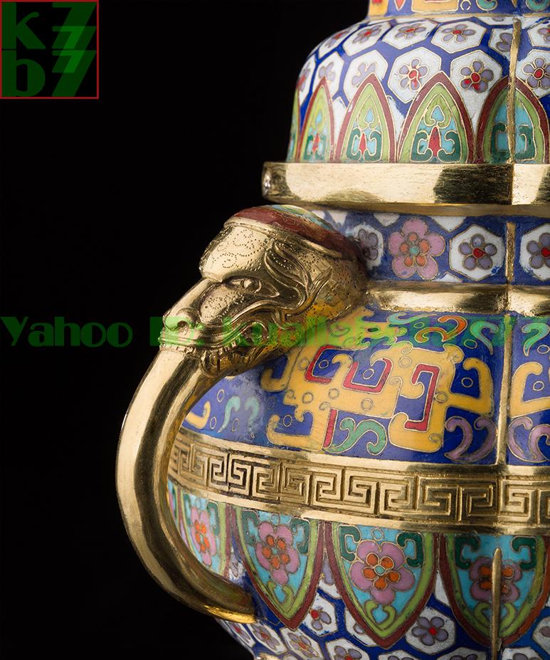 【縁起置物】銅像置物『三脚琺瑯彩金メッキ香炉』100%ハンドメイド仏教仏壇仏具装飾品開運風水鼎炉金属工芸品★高さ38.0cm重さ5.7kgS05_画像8