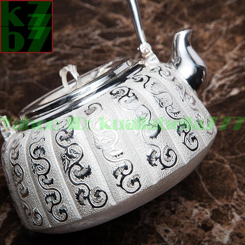 【煎茶道具】純銀口打出し銀瓶急須湯沸かし薬缶やかん100%ハンドメイドシルバー銀製伝統茶文化金属工芸品証付★幅16.5cm重さ713g証付Y54_画像3