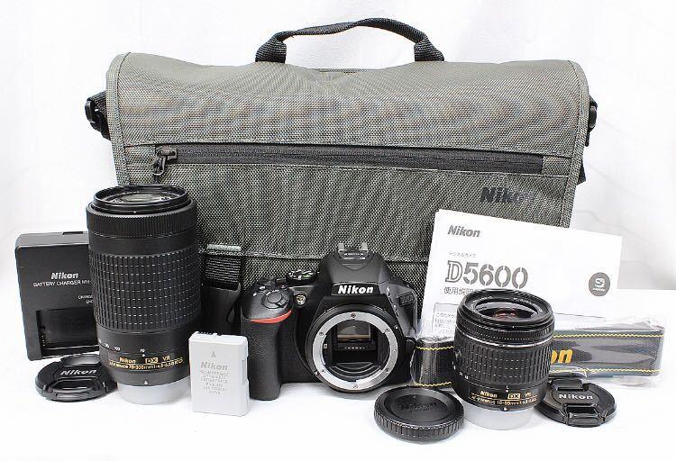 【新品同様】Nikon ニコン D5600 ダブルズーム ケース 総ショット300回未満 ニコンバッグ付き NDフィルター2枚+ステップアップリング付き