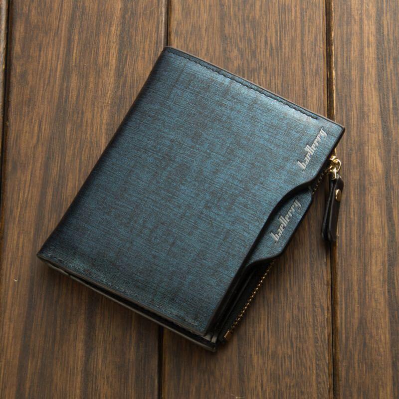 財布 二つ折り財布 レザー 革 お札入れ 小銭入れ カード入れ 名刺入れ 収納ケース コンパクト カード収納 ブラックネイビー 送料無料 20_画像1