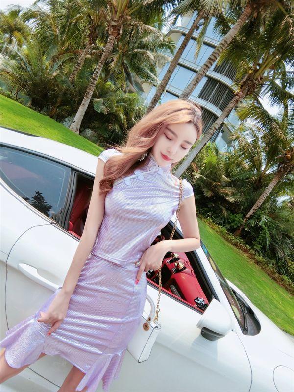 【Mサイズ・1514・紫】 チャイナドレス ミニ 超セクシー エロかわ メタリック キャバドレス キラキラ光沢 キャバ嬢 ボディコン