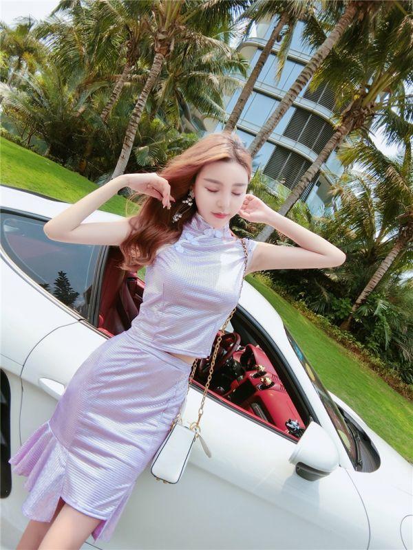 【Mサイズ・1514・紫】 チャイナドレス ミニ 超セクシー エロかわ メタリック キャバドレス キラキラ光沢 キャバ嬢 ボディコン_画像5
