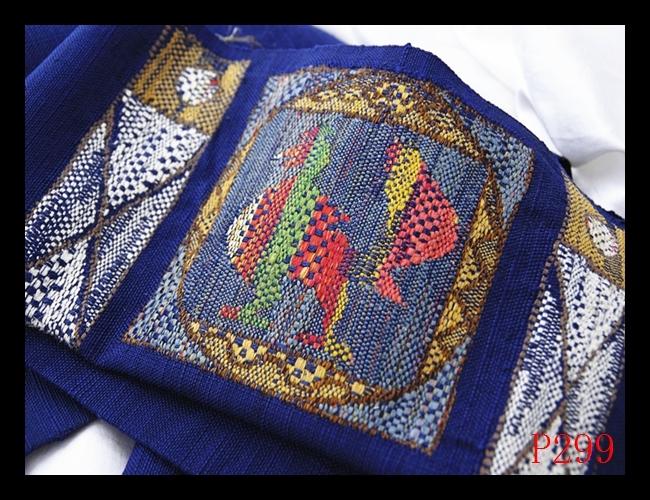 【P299】西陣織美品 紬 手織り 古典鳥文様 紺瑠璃地 高級美術名古屋帯 検★着物袋帯名古屋帯和装小物帯_画像5