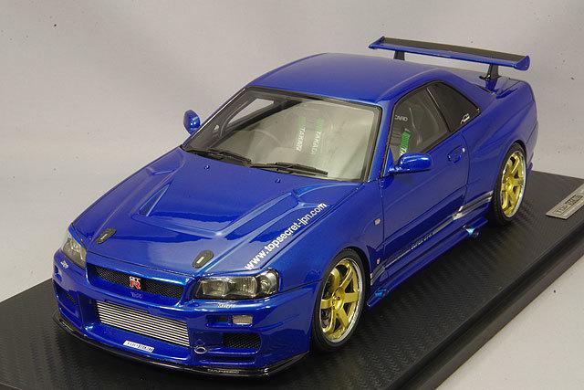イグニッションモデル 1/18 トップシークレット GT-R (BNR34) メタリックブルー/ボルクレーシングTE37 18インチ IG1472 / スカイライン R34