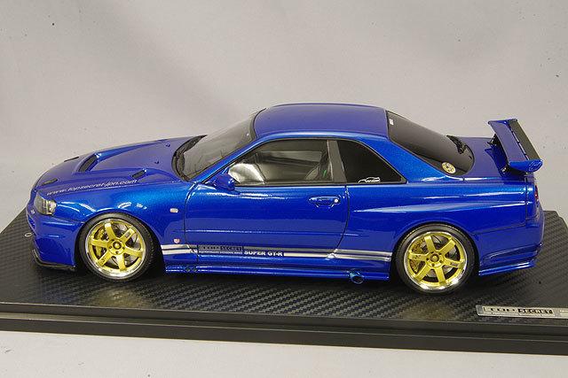 イグニッションモデル 1/18 トップシークレット GT-R (BNR34) メタリックブルー/ボルクレーシングTE37 18インチ IG1472 / スカイライン R34_画像2
