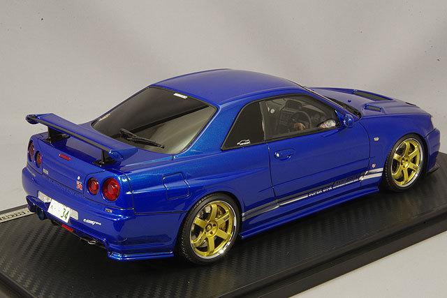 イグニッションモデル 1/18 トップシークレット GT-R (BNR34) メタリックブルー/ボルクレーシングTE37 18インチ IG1472 / スカイライン R34_画像3