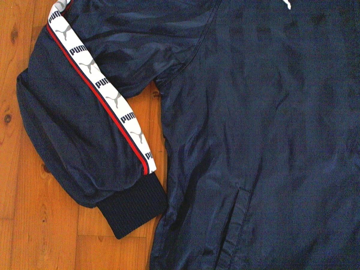 ☆プーマ【puma】襟収納フード ジップアップ パーカジャケット 裏地フリース系 M 濃紺 シャドーストライプ ロゴライン _画像4