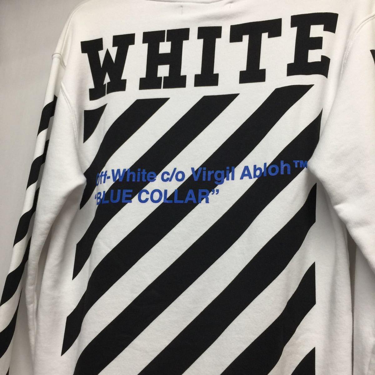 【OFF-WHITE オフホワイト】VIRGIL ABLOH ブラックスプレーロゴパーカー パーカー フーディー コットン ホワイト 白 S バップリント_画像6