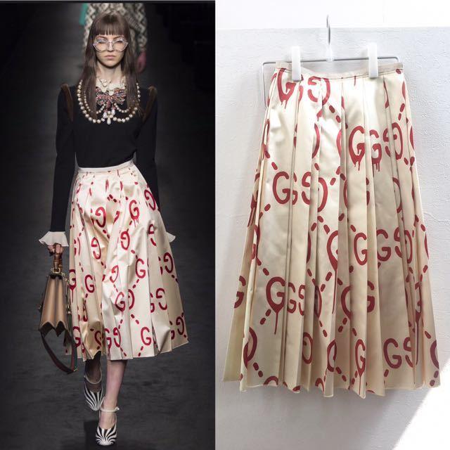 sale retailer 52f7f 778a0 Gucci ) グッチ 超貴重 ゴースト 柄 シルク プリーツスカート IT38 白 ホワイト 赤 ロゴ