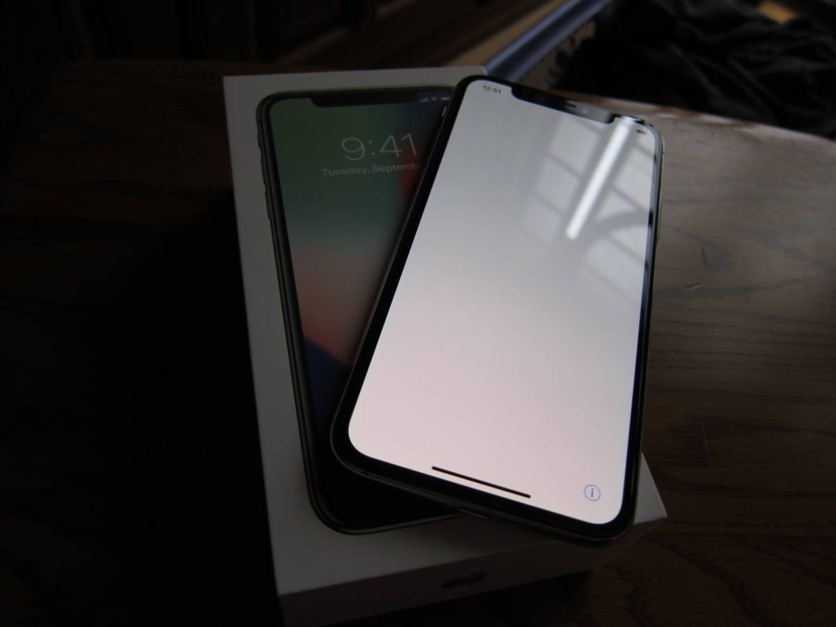 美品 SIMフリー iPhoneX 64GB シルバー 元箱付 付属品未使用 SIMロック解除済み