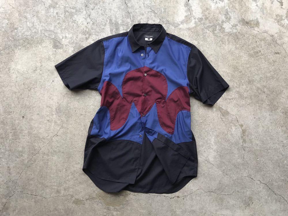 美品 AD2005 COMME des GARCONS HOMME PLUS 切り替えコットンシャツ Mサイズ コムデギャルソン メンズ 半袖_画像3