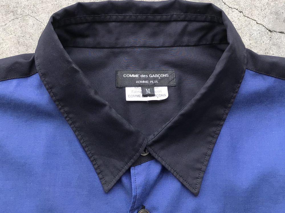美品 AD2005 COMME des GARCONS HOMME PLUS 切り替えコットンシャツ Mサイズ コムデギャルソン メンズ 半袖_画像5