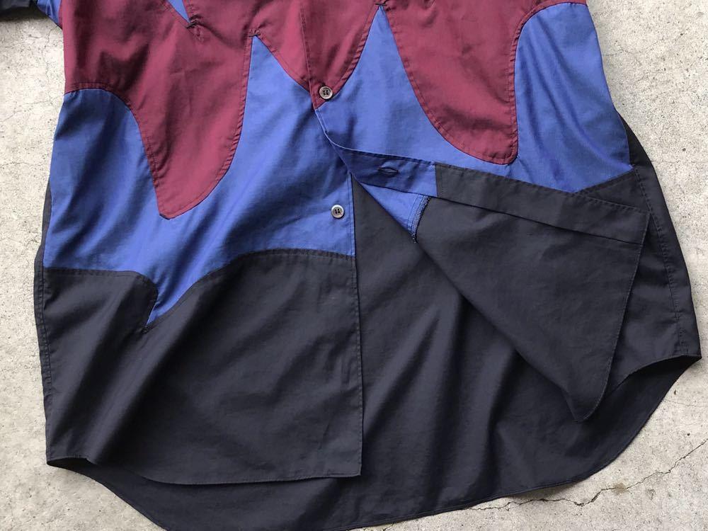 美品 AD2005 COMME des GARCONS HOMME PLUS 切り替えコットンシャツ Mサイズ コムデギャルソン メンズ 半袖_画像9