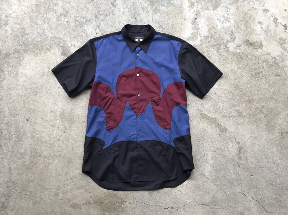 美品 AD2005 COMME des GARCONS HOMME PLUS 切り替えコットンシャツ Mサイズ コムデギャルソン メンズ 半袖