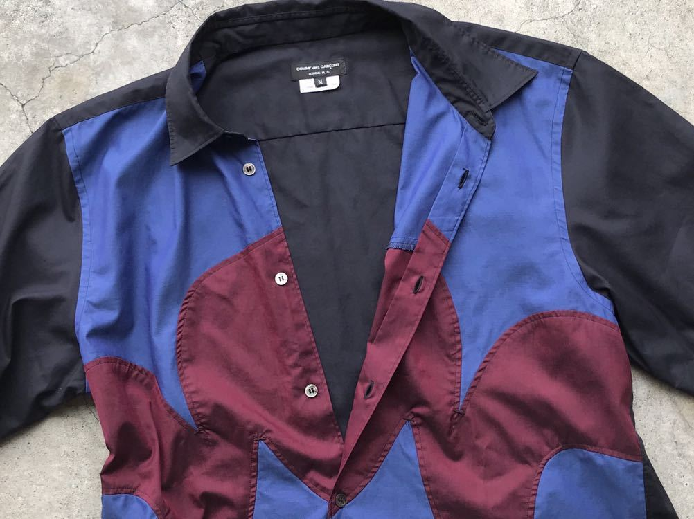 美品 AD2005 COMME des GARCONS HOMME PLUS 切り替えコットンシャツ Mサイズ コムデギャルソン メンズ 半袖_画像7