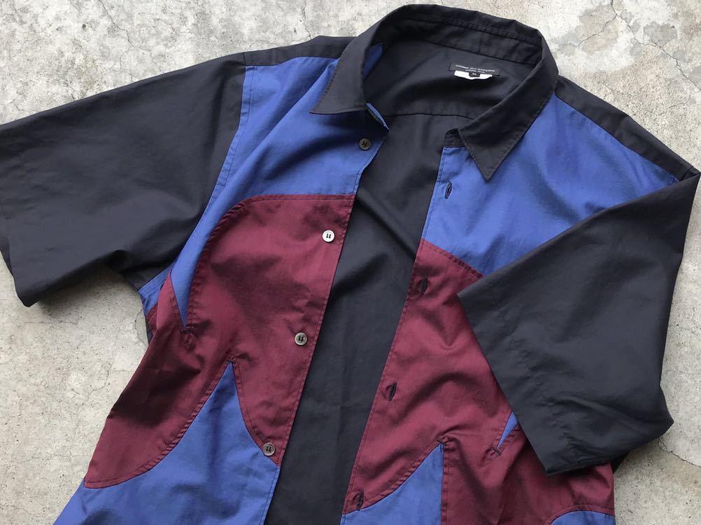 美品 AD2005 COMME des GARCONS HOMME PLUS 切り替えコットンシャツ Mサイズ コムデギャルソン メンズ 半袖_画像8