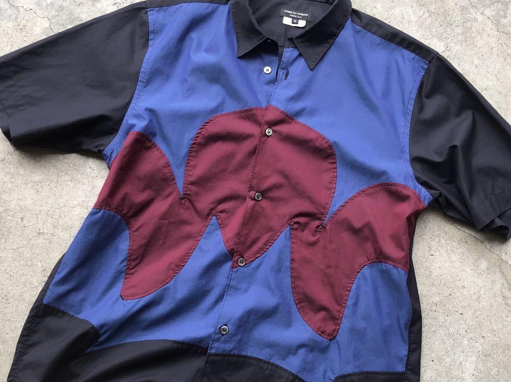 美品 AD2005 COMME des GARCONS HOMME PLUS 切り替えコットンシャツ Mサイズ コムデギャルソン メンズ 半袖_画像6
