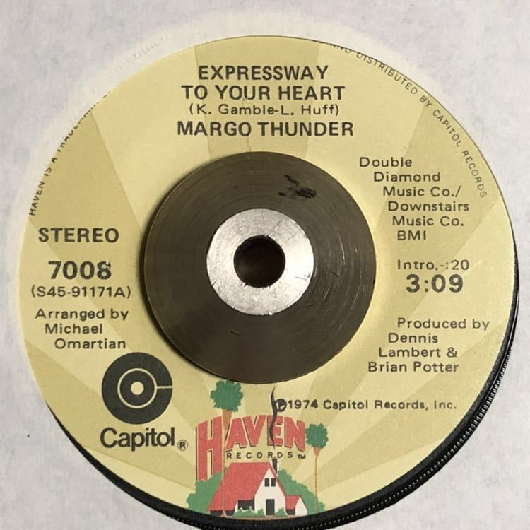 MARGO THUNDER/EXPRESSWAY TO YOUR HEART-RARE 7inch ONLY DOPE SISTER FUNK-DJ MURO MIXCD収録SOUL SOUVIVORSの名曲カバー ドラムブレイク