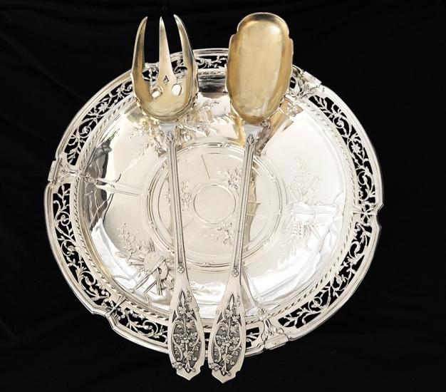 PUIFORCAT 純銀サラダサーバー Feuillageモデル 特級品/美彫/純銀950/フレンチアンティーク/1800年後期/ピュイフォルカ_画像7