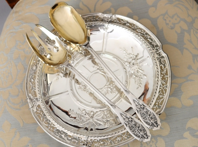 PUIFORCAT 純銀サラダサーバー Feuillageモデル 特級品/美彫/純銀950/フレンチアンティーク/1800年後期/ピュイフォルカ_画像6