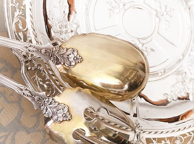 PUIFORCAT 純銀サラダサーバー Feuillageモデル 特級品/美彫/純銀950/フレンチアンティーク/1800年後期/ピュイフォルカ_画像4