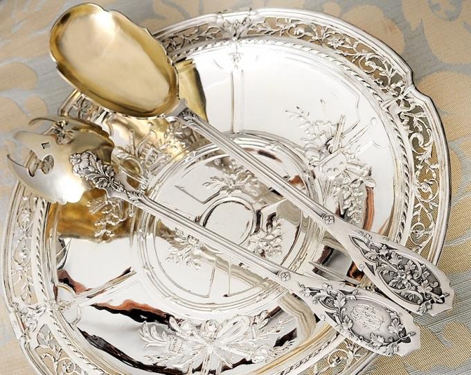 PUIFORCAT 純銀サラダサーバー Feuillageモデル 特級品/美彫/純銀950/フレンチアンティーク/1800年後期/ピュイフォルカ_画像1