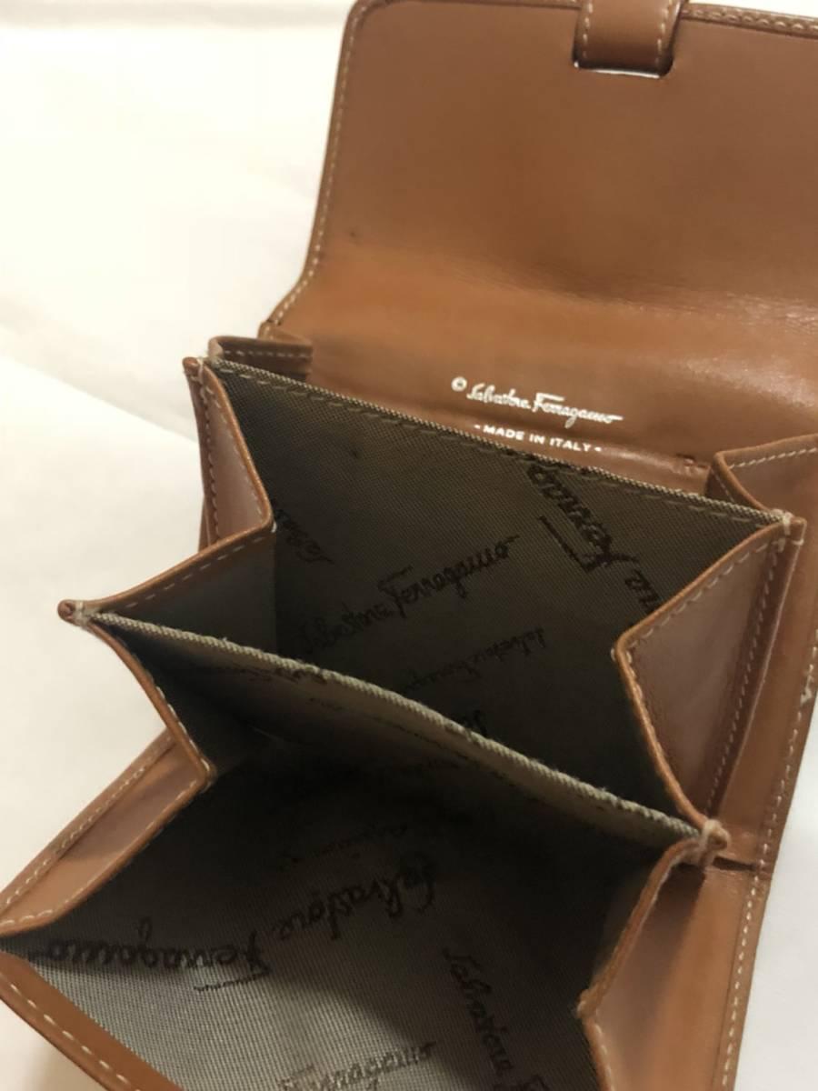 Ju21o◆ Salvatore Ferragamo フェラガモ 本革 カードケース コインケース 小銭入れ 名刺入れ 財布  ブラウン_画像5