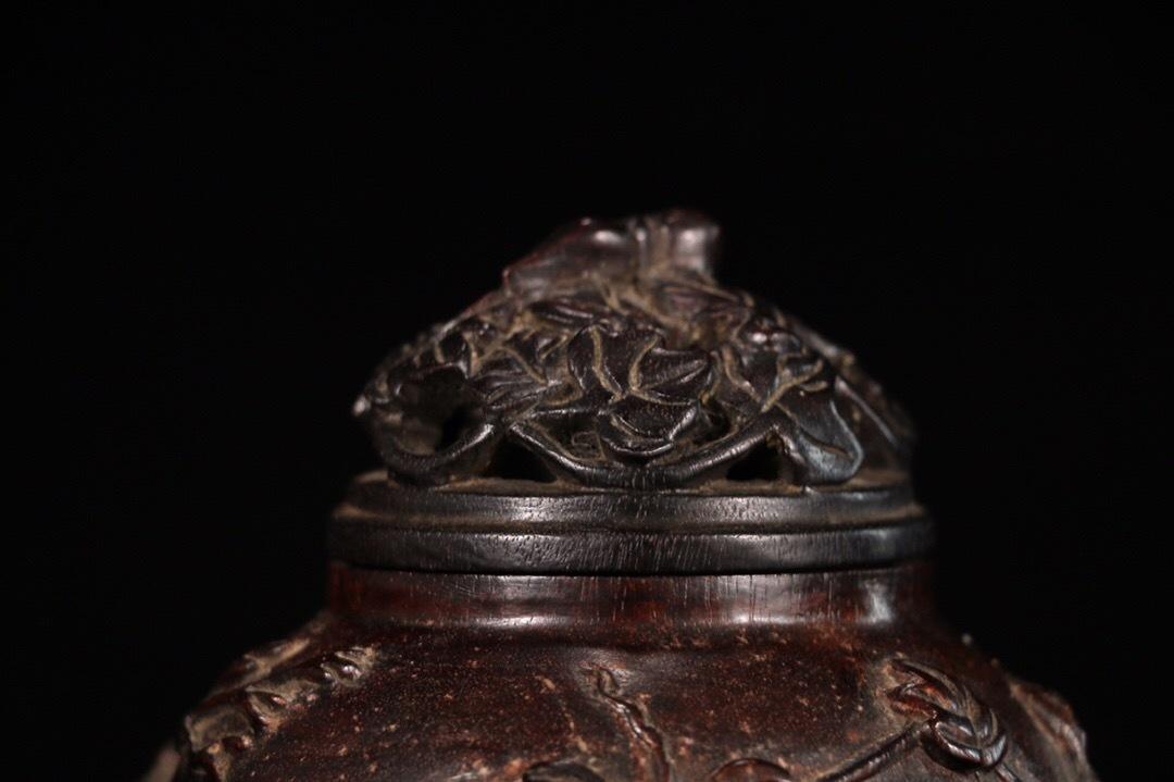 【1907M180119YS】中国古工芸 清 小葉紫檀 香熏炉 香具 置物 中国古美術 唐物古玩_画像2